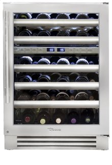 24 Inch Stainless Glass Door Dual Zone Wine Cabinet - Left Hinge Stainless Glass