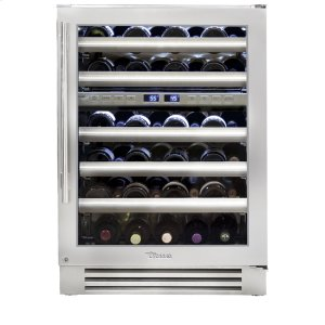 True Residential24 Inch Stainless Glass Door Dual Zone Wine Cabinet - Left Hinge Stainless Glass