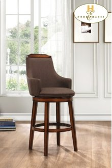 Swivel Pub Height Chair, Chocolate Fabric