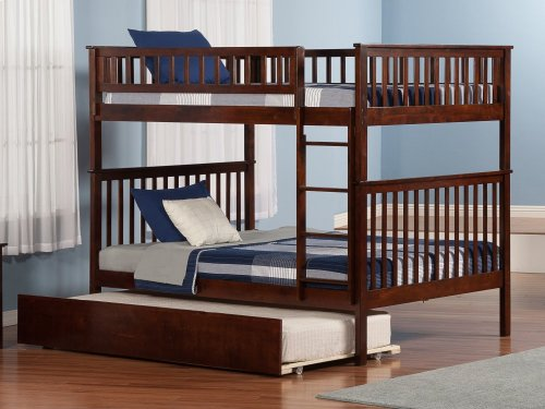 Woodland Bunk Bed Full over Full with Urban Trundle Bed in Walnut