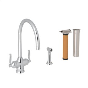 Polished Chrome Perrin & Rowe Holborn Filtration 2-Lever Kitchen Faucet With Sidespray with Modern Lux Metal Lever