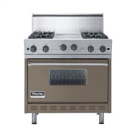 "Stone Gray 36"" Open Burner Commercial Depth Range - VGRC (36"" wide, four burners 12"" wide griddle/simmer plate)"
