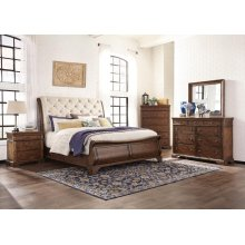 Trisha Yearwood Queen Sleigh Bedroom Set: King Sleigh Bed, Nightstand, Dresser & Mirror