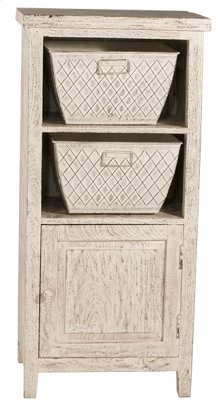 Signature 2 Basket Stand With 1 Door - Distressed White