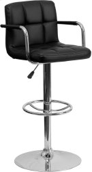 Contemporary Black Quilted Vinyl Adjustable Height Barstool with Arms and Chrome Base Product Image