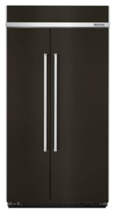 25.5 cu. ft 42-Inch Width Built-In Side by Side Refrigerator with PrintShield™ Finish - Black Stainless Product Image