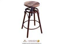 """24-30"""" Adjustable Swivel Stool, wooden seat, straight leg, iron base"""