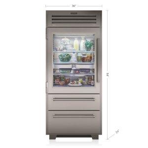 """Subzero36"""" PRO Refrigerator/Freezer with Glass Door"""
