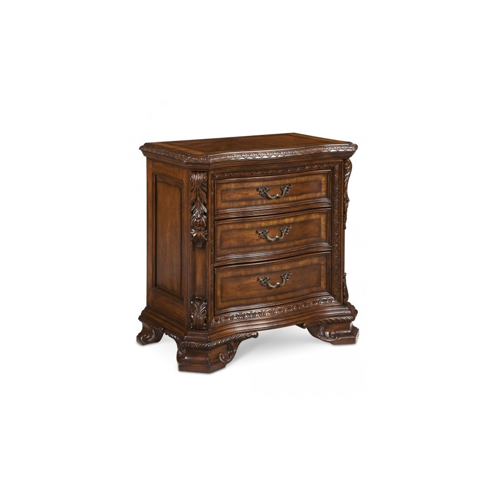 Old World Wood Top Bedside Chest