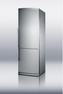 """Counter depth bottom freezer refrigerator in slim 24"""" width, with factory installed icemaker and stainless steel doors"""