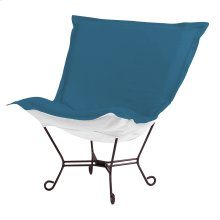 Scroll Puff Chair Seascape Turquoise Mahogany Frame
