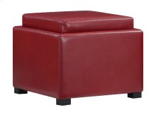 Flip Top Storage Ottoman Wood Tray Top Red