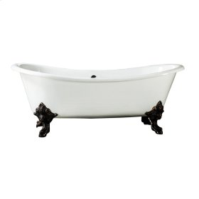 "Nelson 73"" Cast Iron Double Slipper Tub - No Faucet Holes - White"