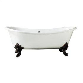 "Nelson 73"" Cast Iron Double Slipper Tub - No Faucet Holes - White"