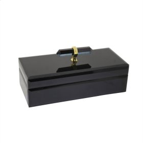 Wood & Glass Storage Box, Black