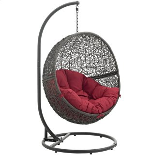 Hide Outdoor Patio Swing Chair With Stand in Gray Red