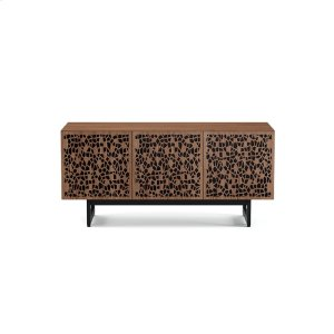 Triple Wide Cabinet W Media Base in Mosaic Doors Natural Walnut -