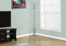 """COAT RACK - 70""""H / SILVER METAL WITH AN UMBRELLA HOLDER"""