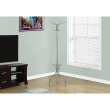 "COAT RACK - 70""H / SILVER METAL WITH AN UMBRELLA HOLDER"