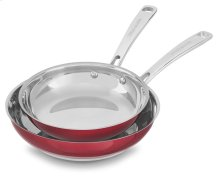 "Stainless Steel 8"" and 10"" Skillets Twin Pack - Candy Apple Red"