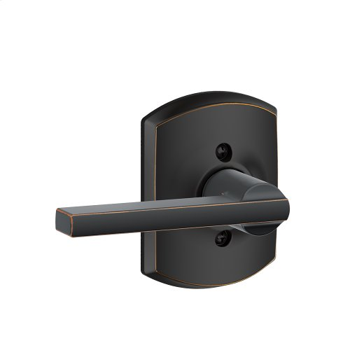 Latitude Lever with Greenwich trim Non-turning Lock - Aged Bronze