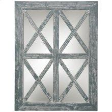 Gray Wash Window Wood Mirror  30in X 40in