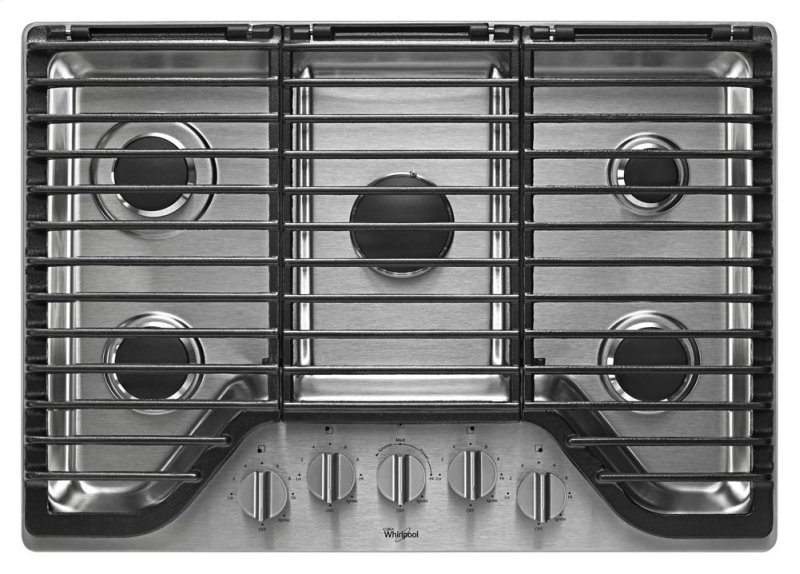 Wcg97us0ds In Stainless Steel By Whirlpool Portsmouth Nh 30 Inch 5 Burner Gas Cooktop With Ez 2 Lift Hinged Cast Iron Grates