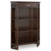 Chocolate Oak Mantel Height 3-Shelf Corner Bookcase with Drawer Storage #81263 Product Image