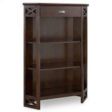 Chocolate Oak Mantel Height 3-Shelf Corner Bookcase with Drawer Storage #81263
