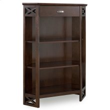 Chocolate Oak Mantel Height 3-Shelf Corner Bookcase with Drawer Storage #81263