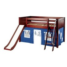 Low Loft Bed with Angled Ladder & Curtain and Slide
