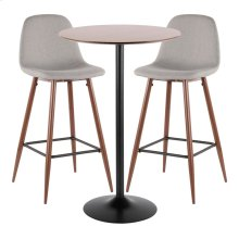 Pebble Pub Set - Black Metal, Walnut Wood, Walnut Metal, Light Grey Fabric