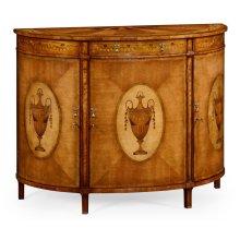 Adam Style Walnut & Satinwood Demilune TV Cabinet