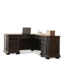 Allegro L Desk and Return Burnished Cherry/Rubbed Black finish
