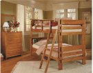Heartland Bookcase Bunk Bed with options: Honey Pine, Twin over Twin, Ladder Included Product Image
