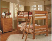 Heartland Bookcase Bunk Bed with options: Honey Pine, Twin over Twin, Ladder Included
