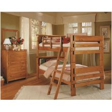 Heartland Bookcase Bunk Bed with options: Honey Pine, Twin over Twin, No Ladder