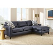 "Alder Right Arm Chaise,Ink Blue 37""x64""x36"" w/one Accent Pillow Product Image"