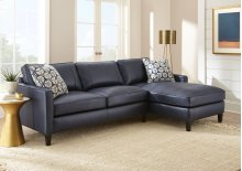 """Alder Right Arm Chaise,Ink Blue 37""""x64""""x36"""" w/one Accent Pillow"""