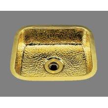 B0150 - Small Rectangular Bar Sink - Plain Pattern - Antique Brass