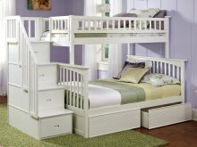Columbia Staircase Bunk Bed Twin over Full with Flat Panel Bed Drawers in White