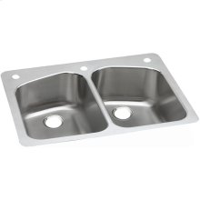 "Dayton Stainless Steel 33"" x 22"" x 8"", Equal Double Bowl Dual Mount Sink"