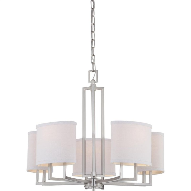 5 Lights Contemporary Chandelier In Brushed Nickel Finish With Slate Gray Fabric Shade