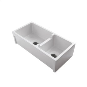 """Millwood 36"""" Double Bowl Fire Clay Farmer Sink - Bisque"""