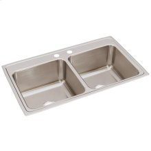 "Elkay Lustertone Classic Stainless Steel 37"" x 22"" x 10-1/8"", Equal Double Bowl Drop-in Sink"
