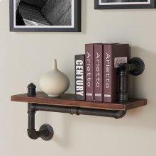 "Armen Living 24"" Montana Industrial Walnut Wood Floating Wall Shelf in Silver Finish"
