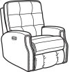 Devon Fabric Power Recliner with Power Headrest and Nailhead Trim