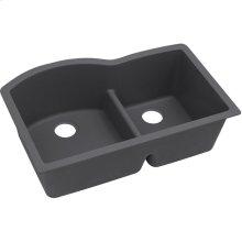 "Elkay Quartz Luxe 33"" x 22"" x 10"", Offset 60/40 Double Bowl Undermount Sink with Aqua Divide, Charcoal"