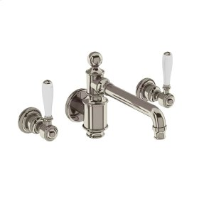 Arcade White Lever Widespread Wall Mount Lavatory Faucet Trim - Polished Nickel