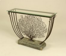 Black Iron Coral Motif Console Table, Green Stone Base, Brass Accents, Beveled Glass Top